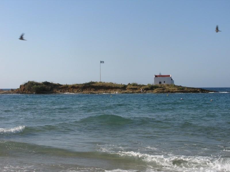 The island opposite Malia beach. - The island opposite Malia beach.