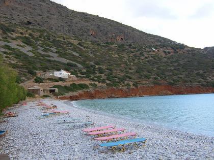 Pebble beach at Plaka. - Pebble beach at Plaka.