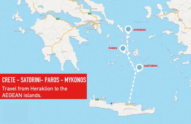 Heraklion - Santorini - Paros - Mykonos :