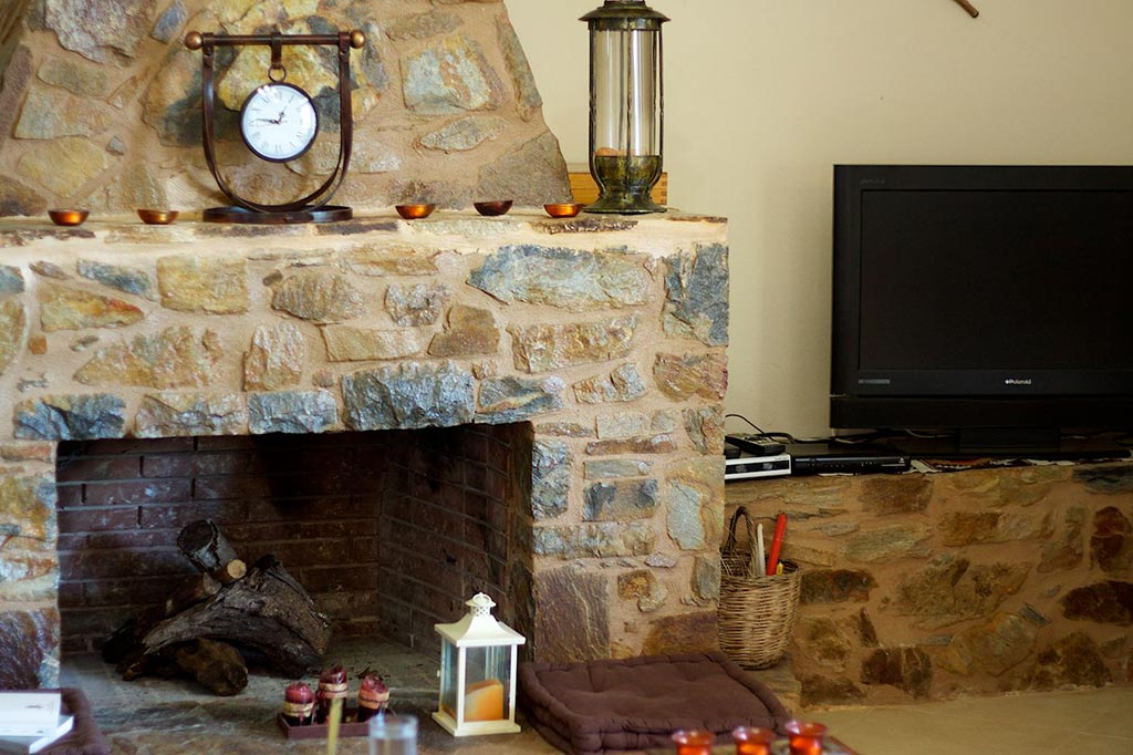 Indoors - Living room and fireplace